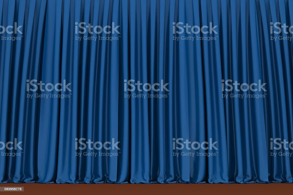 Blue theater curtain, 3d background stock photo