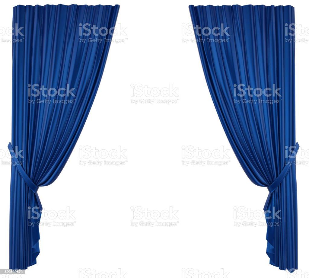 Rideau de théâtre bleu isolé photo libre de droits