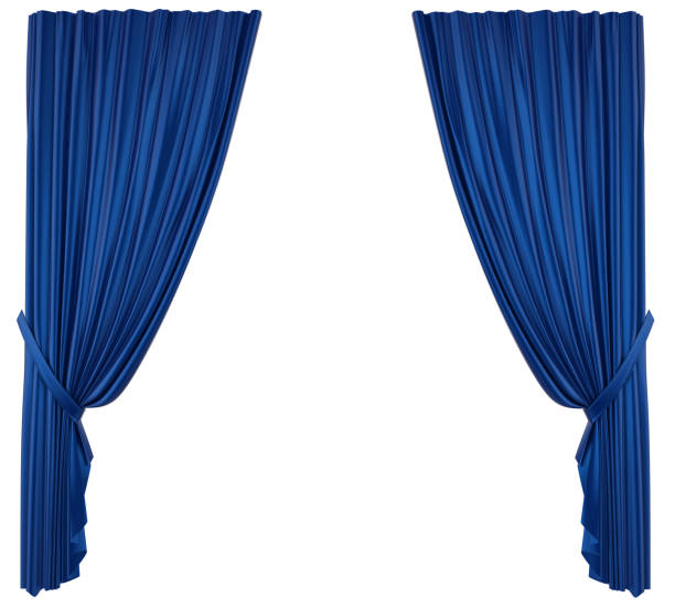 blue theatre curtain isolated - curtain stock pictures, royalty-free photos & images
