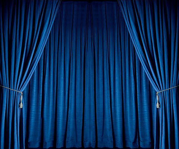 blue theatre drapes - curtain stock photos and pictures