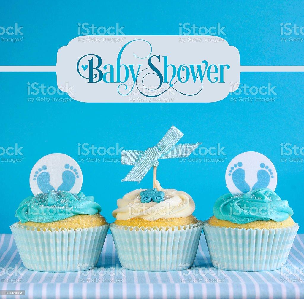 Tema Azul Bebe Cupcakes Com Saudacao De Texto De Exemplo