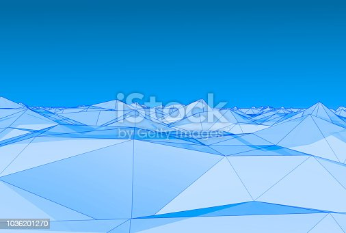 istock Blue theme wireframe on futuristic landscape terrain cyberspace grid background for technology concept,3D rendering. 1036201270