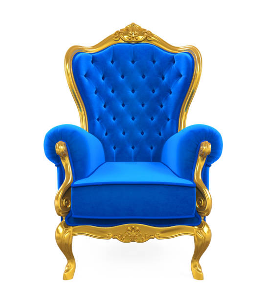 blauen thron stuhl isoliert - hochkönig stock-fotos und bilder