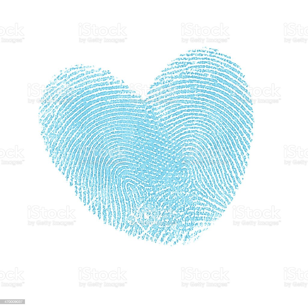 Blue Thumbprint heart stock photo