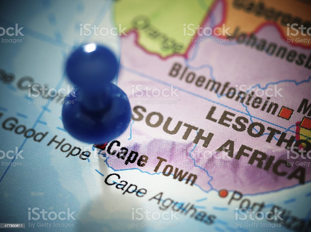 Blue thumbtack marks Cape Town on map of South Africa. royalty-free stock photo
