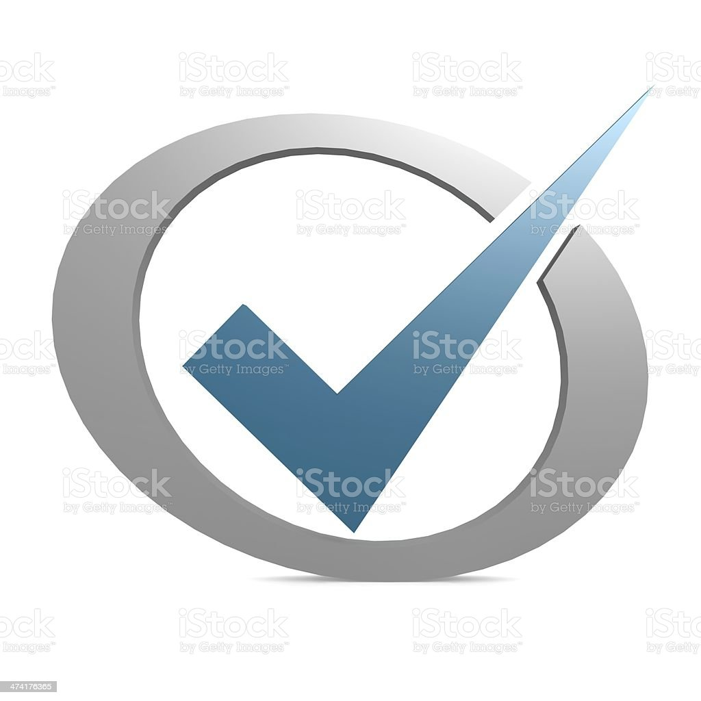 Blue tick in circle stock photo