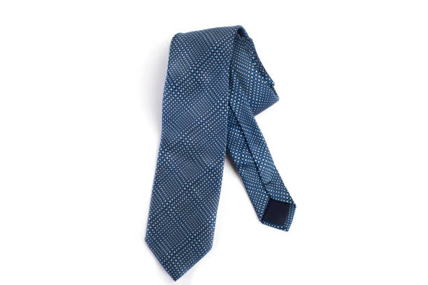 Blue tie Isolated on White Background. stock photo