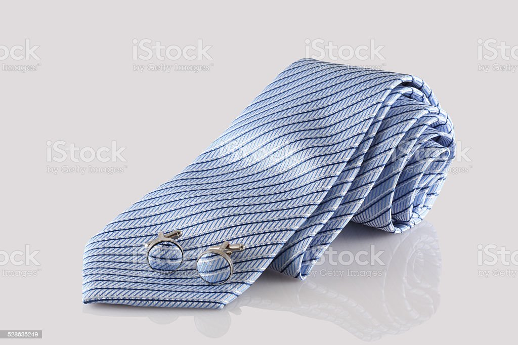 blue tie with cuff links stock photo