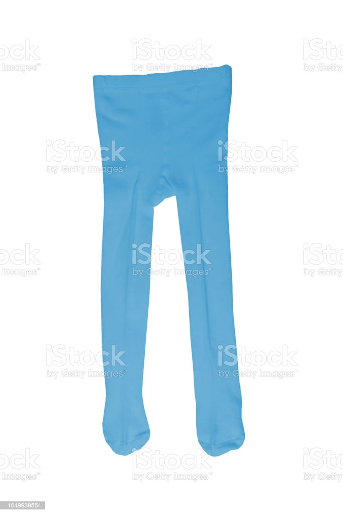 A blue tights for kids isolated on a white background. Children fashion. stock photo