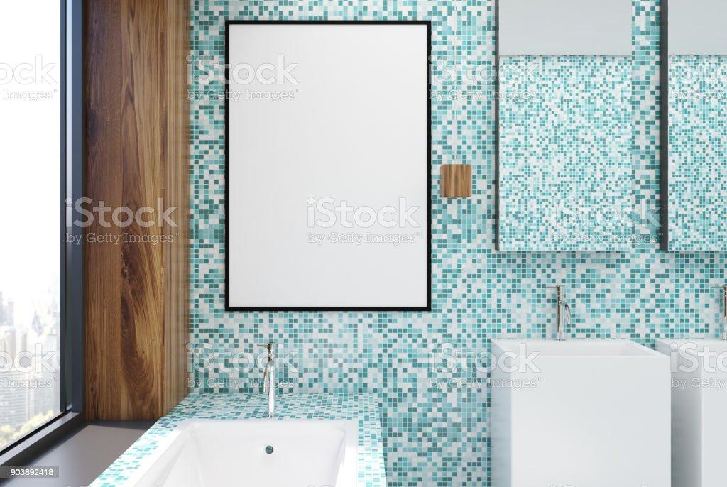 Blaue Fliesen Badezimmer Interieur Plakat Stockfoto und mehr ...