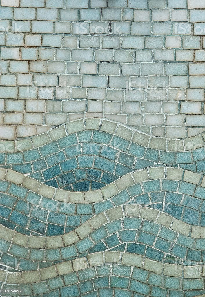 Blue Tile Seascape Mosaic with Wave Design royalty-free stock photo