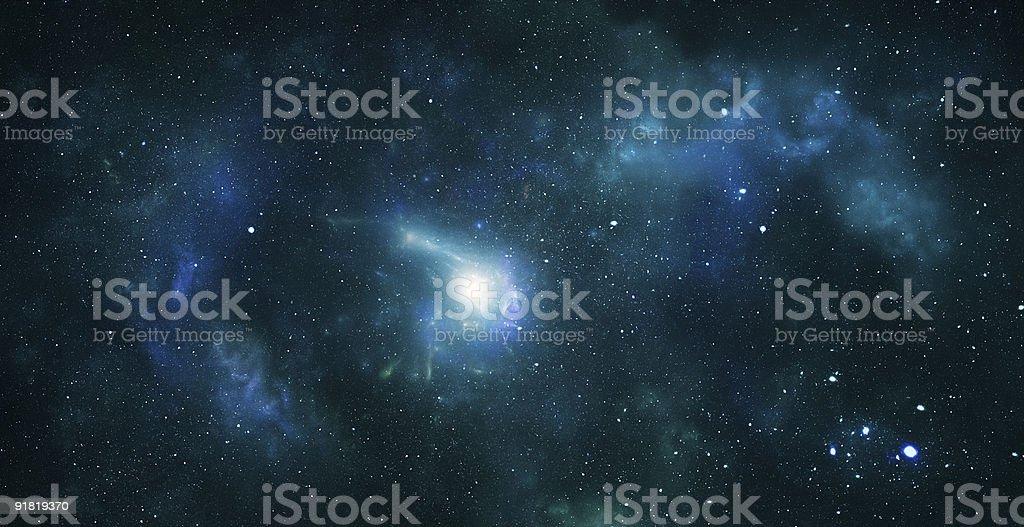 Blue tinted nebula galaxy image stock photo