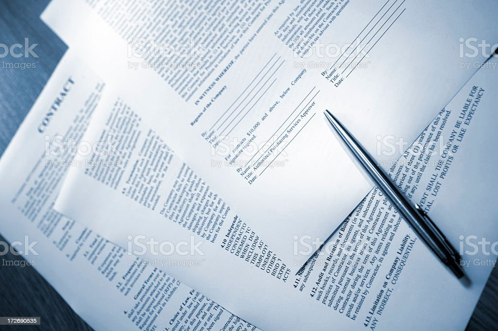 Blue Tinted Page of Legal Contract royalty-free stock photo