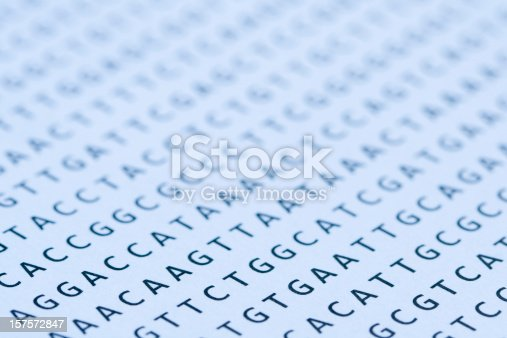 Macro of a nucleotide sequence print out. Selective focus with very shallow depth of focus, sharpest focus on the letters in left foreground, the letters in the mid to background, and front left corner, are out of focus, but still recognizable. Blue tint. This is a photograph of a printout on paper and at 100% the paper texture and imperfections of the letters are visible. Makes a great background for PowerPoint presentation for molecular biology, genetics, systematics, genomics or evolution lectures.