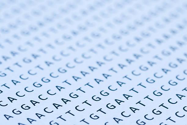 Blau getönte Ausdruck DNA nucleotide sequence auf Papier – Foto