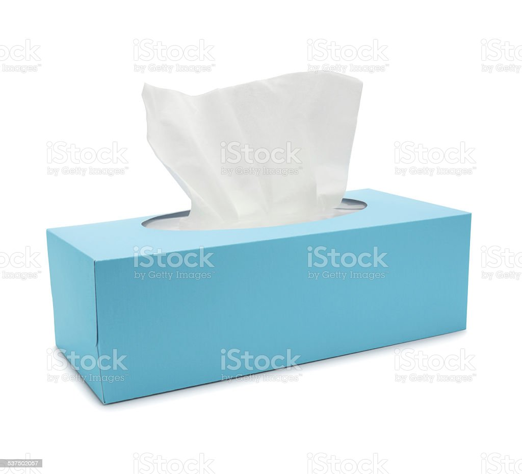 Blue Tissue Paper Box (with path) stock photo