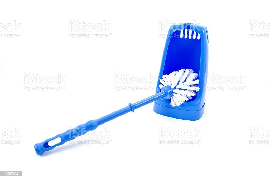 Blue toilet brush stock photo