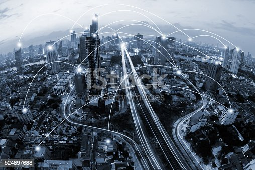 istock blue tone city scape and network connection concept 524897688
