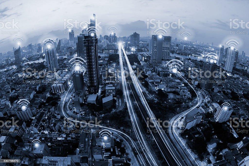blue tone city scape and wifi icon stock photo