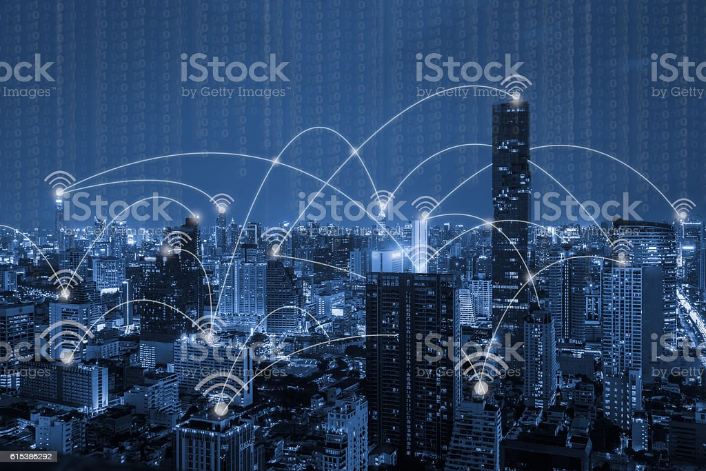 blue tone city scape and wifi network connection concept,technol stock photo