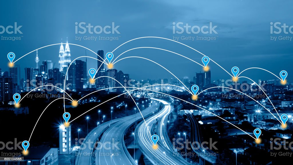 Blue tone Kuala Lumpur cityscape searching location and navigation concept. stock photo