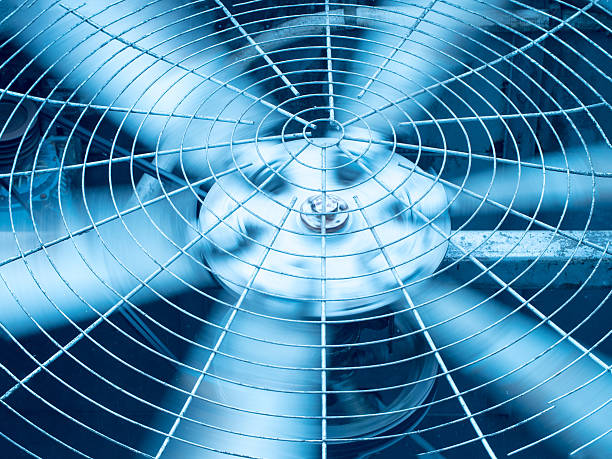 Blue tone of HVAC (Heating, Ventilation and Air Conditioning) blades stock photo