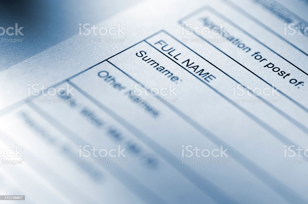 Blue Toned Application Form royalty-free stock photo