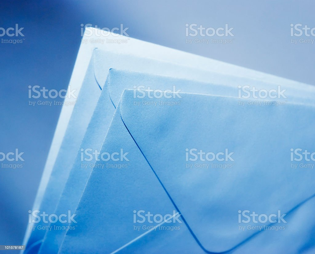 Blue toned blank envelopes stock photo