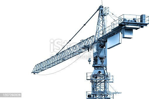 istock Blue toned construction crane working 1207260328