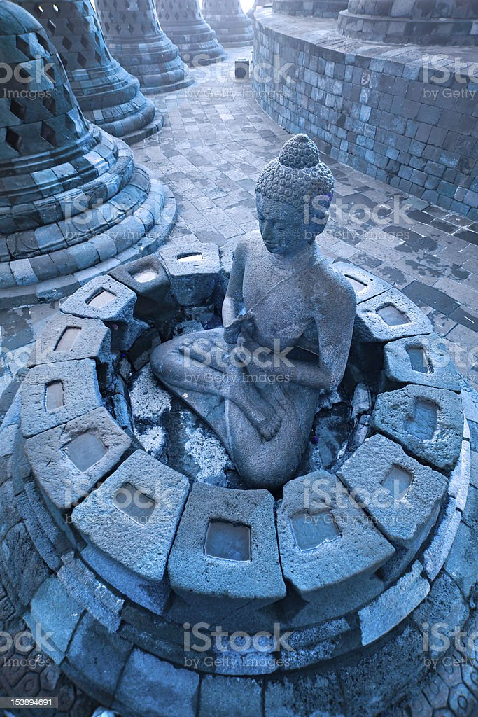 Blue toned image of Borobudur Temple, Indonesia. royalty-free stock photo