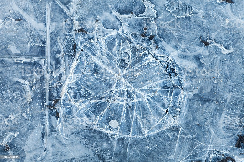 Blue toned macro background texture of broken ice stock photo