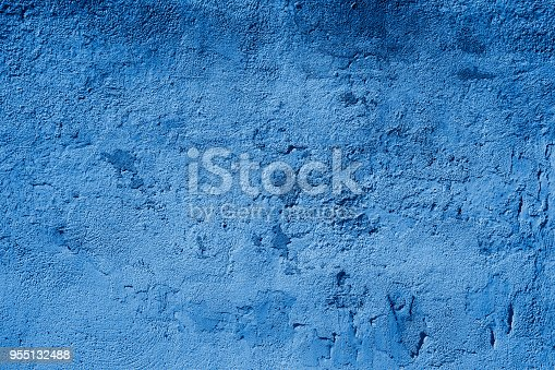 istock Blue Toned Textured Grundgy Concrete Stucco Wall 955132488