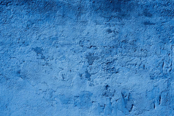 Blau getönten texturierte Grundgy Beton Stuck Wand – Foto