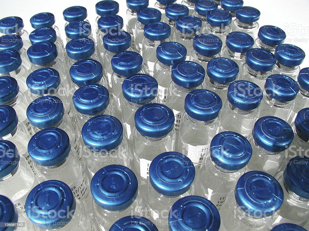 Blue Topped Bottles royalty-free stock photo