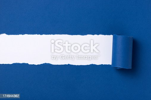 Blue torn paper with space for text with white background