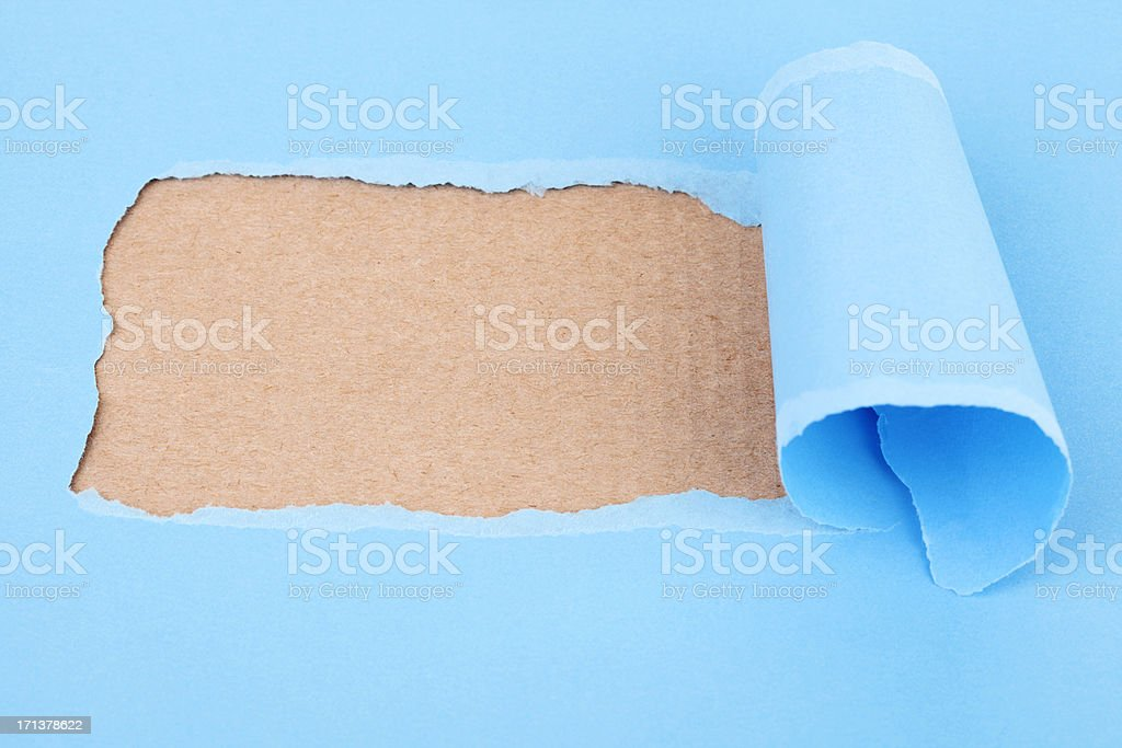 blue torn paper royalty-free stock photo