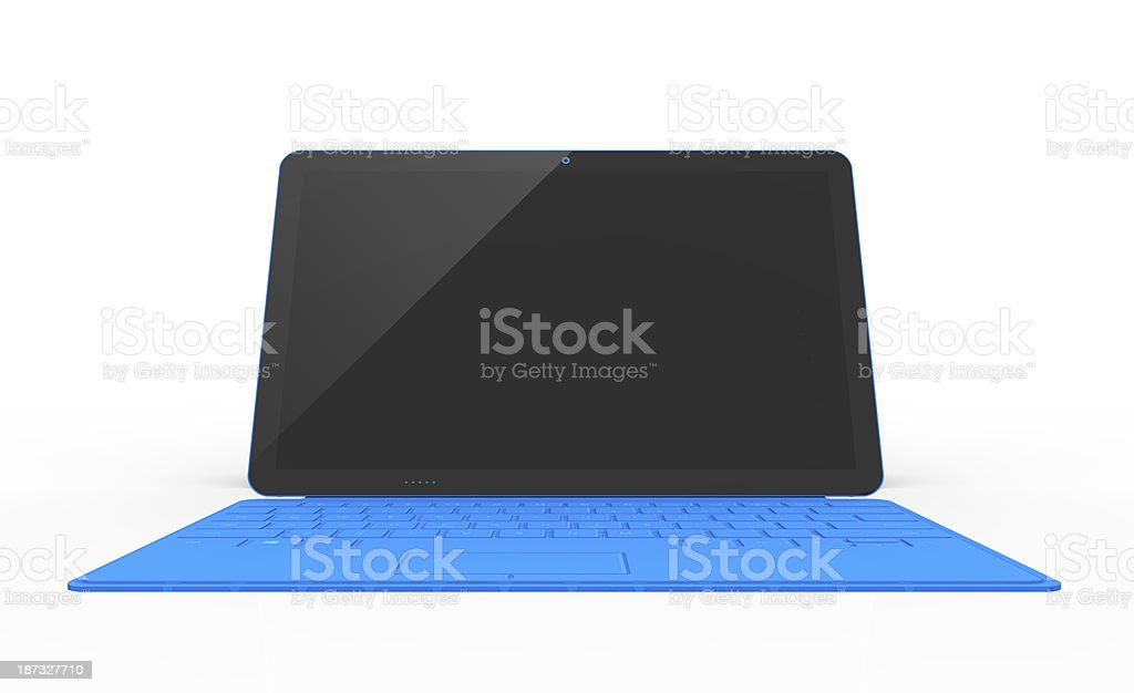Blue Touchscreen Tablet With Blank Screen and Keyboard stock photo