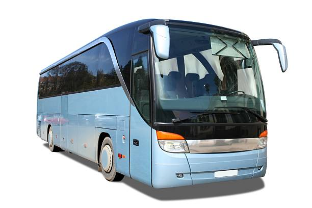 Blue touring bus with limo tint Windows