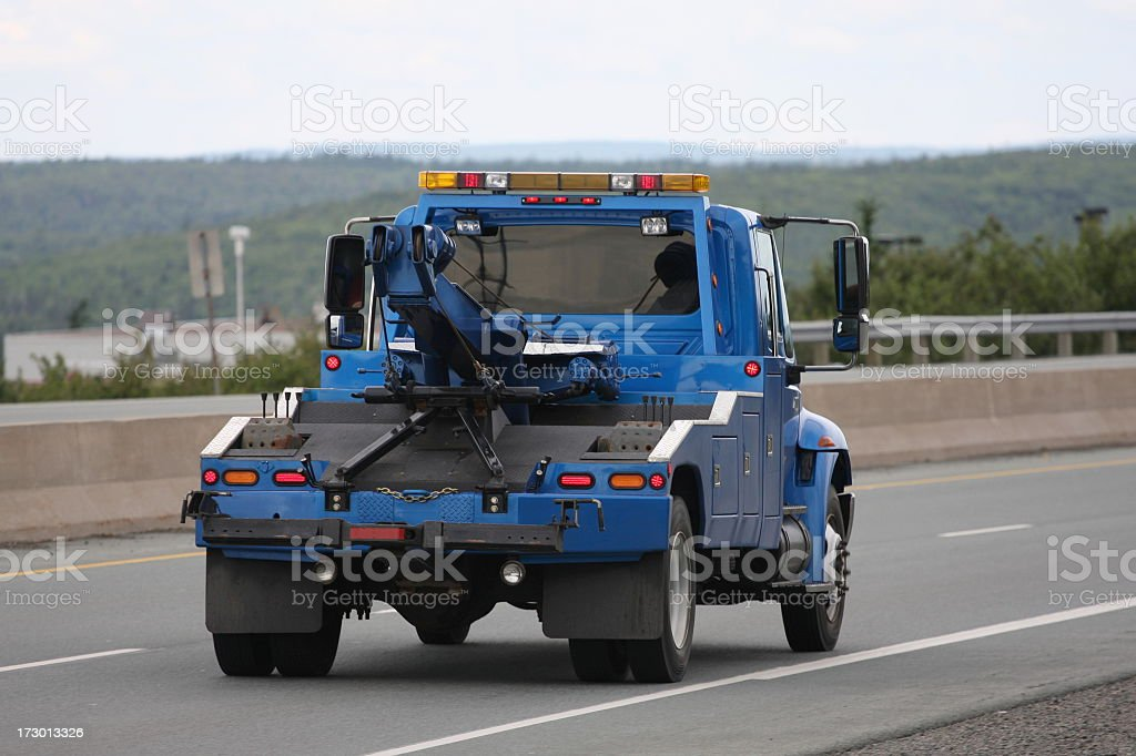 Blue Tow Truck stock photo