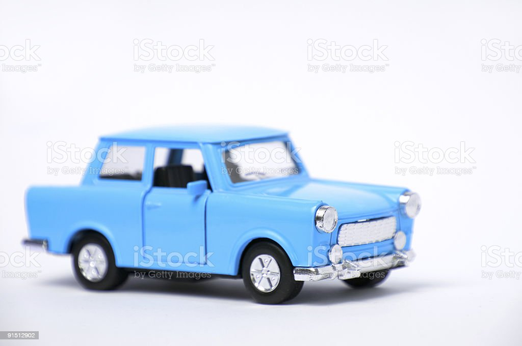 Blue toy car stock photo