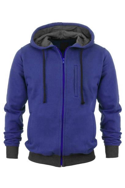 blauen trainingsanzug auf weißem hintergrund - fleecepullover stock-fotos und bilder
