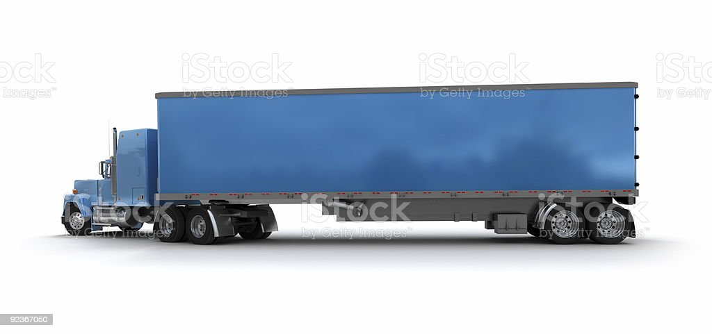 Blue trailer truck cargo container royalty-free stock photo