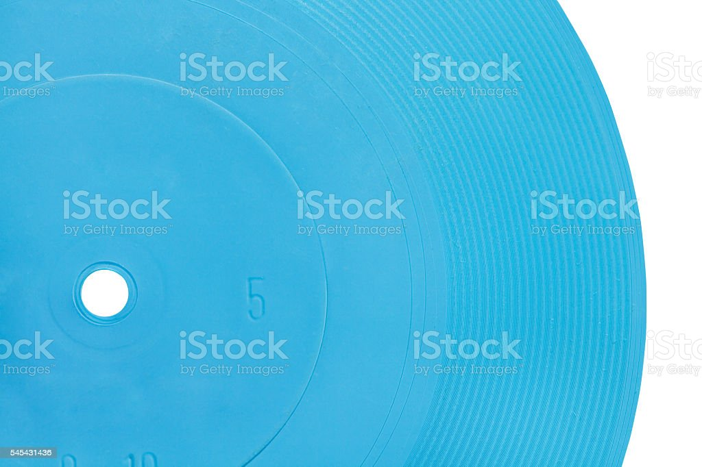 blue transparent flexible record disc stock photo
