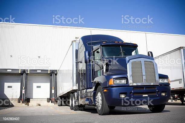 Blue transport truck docking at warehouse picture id104283402?b=1&k=6&m=104283402&s=612x612&h=gu7l6u py bidenbqqnctrs0l3g7uviwfkmce4sfqpc=
