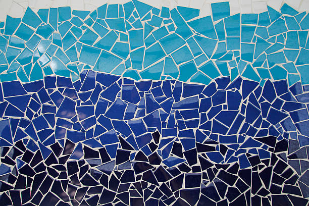 Blue trencadis mosaic stock photo