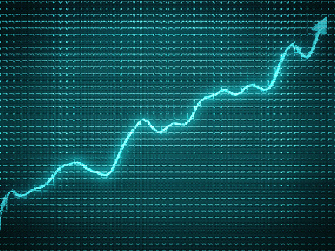 istock blue trend as success symbol or financial growth. Useful for analytics 950341106