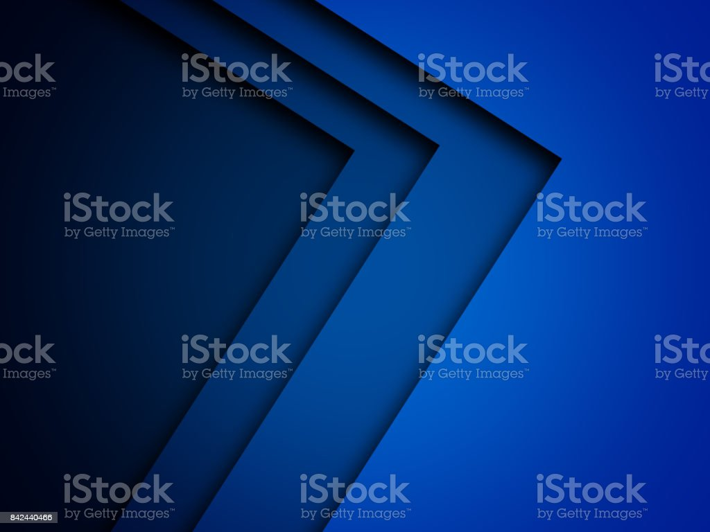 Blue triangle background with overlap paper layer gradient color with space for text and message artwork design stock photo
