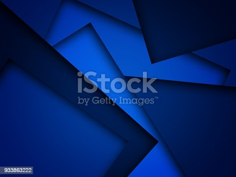 istock Blue triangle background with overlap paper layer gradient color with space for text and message artwork design 933863222