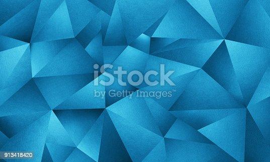 istock Blue Triangle Geometric Background 913418420
