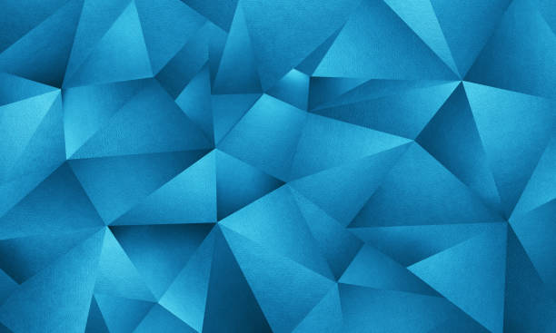 blue triangle geometric background - geometric shape stock pictures, royalty-free photos & images